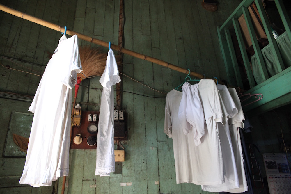 shirts hanging in a Burmese house